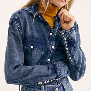 FREE PEOPLE Paradise Button Down Denim Chambray